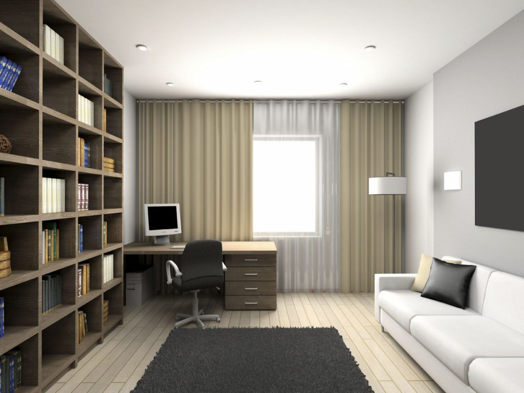 Cabinet with the modern furniture. 3D render.