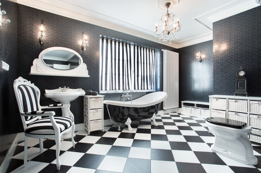 monochrome bathroom with checkered floor