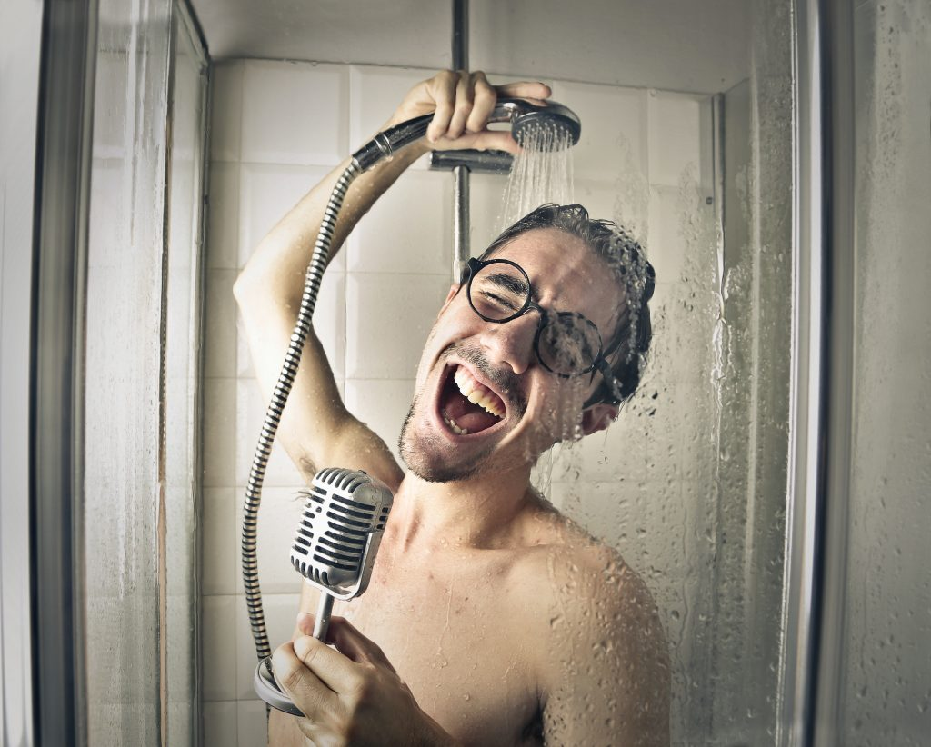 Man Hitting the High Notes in the Shower
