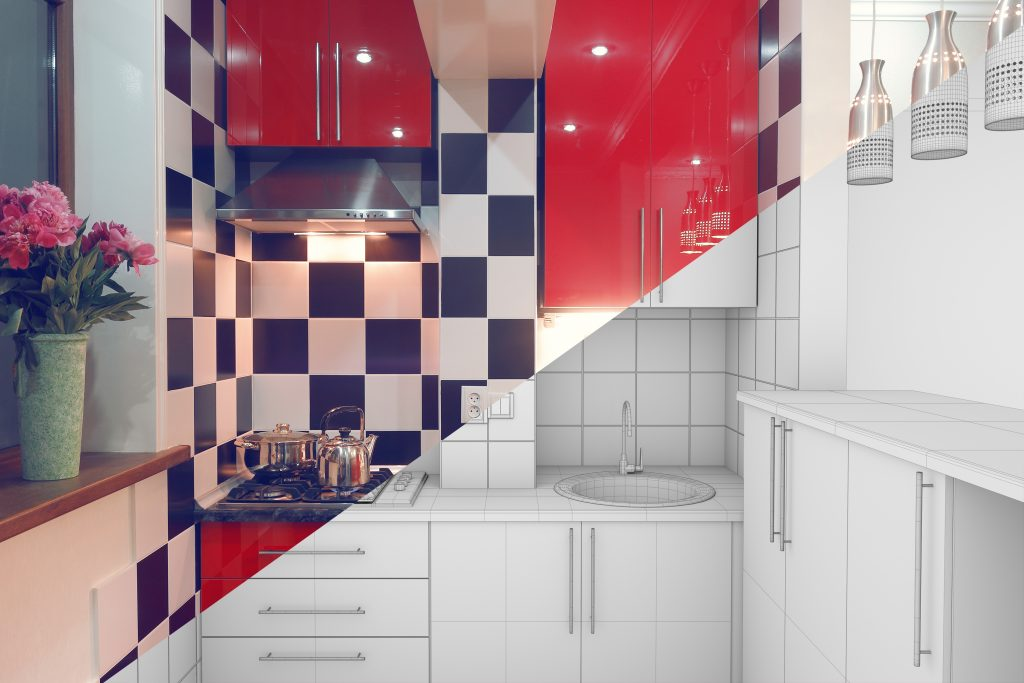 Modern interior of small red kitchen half finished, half 3d illustration clay render