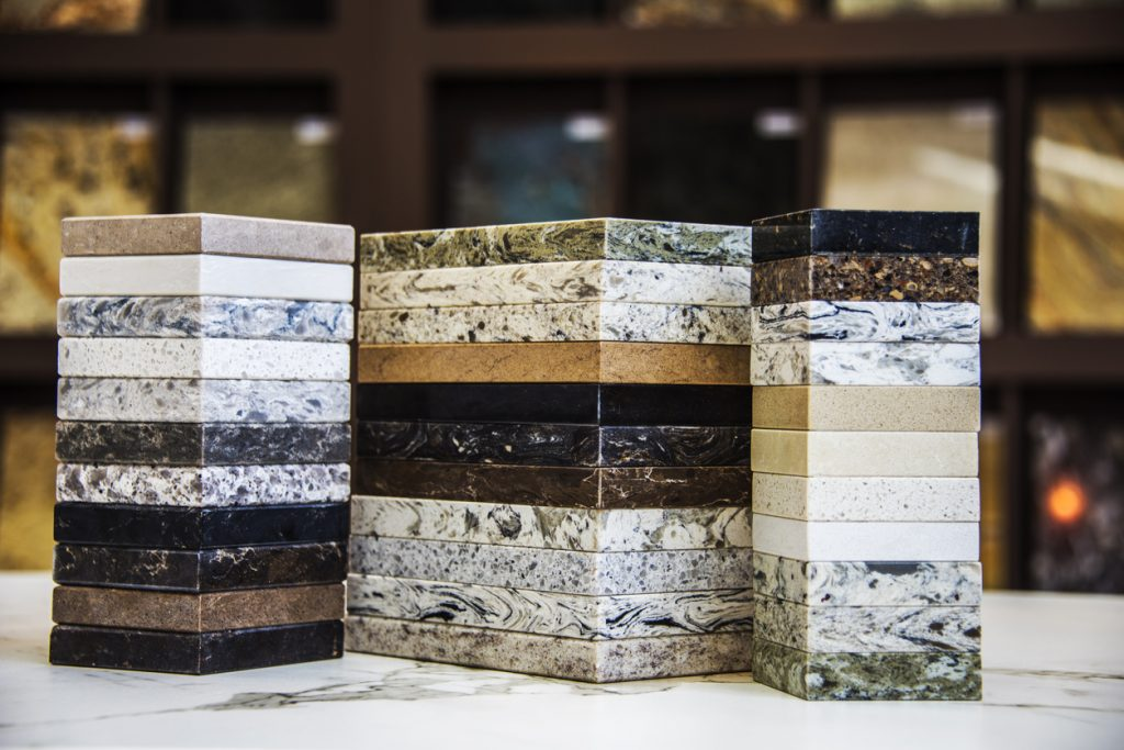 Kitchen counter top color samples, granite, marble and quartz