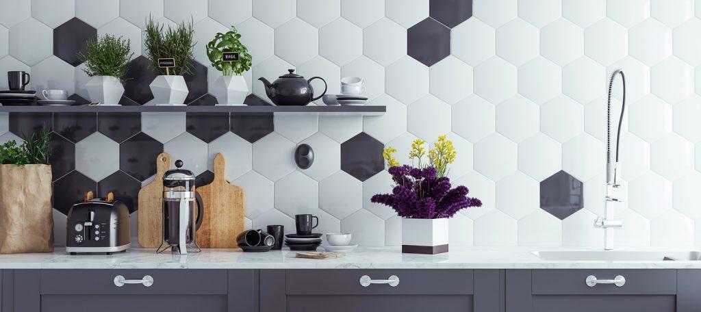 Panoramic modern kitchen interior background, 3d render