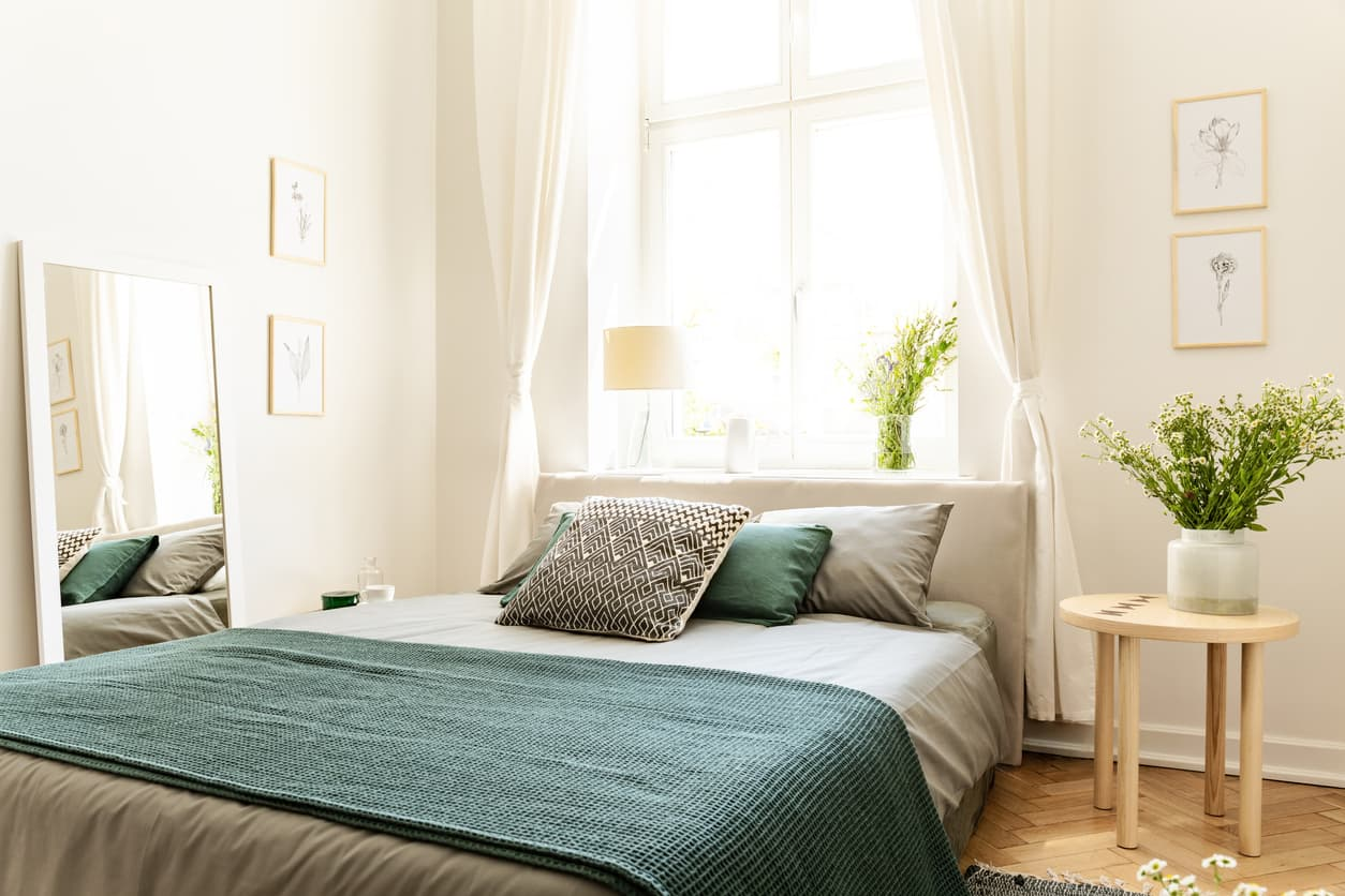bright room with green throw